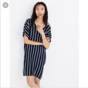 Madewell Navy Striped Plaza Dress